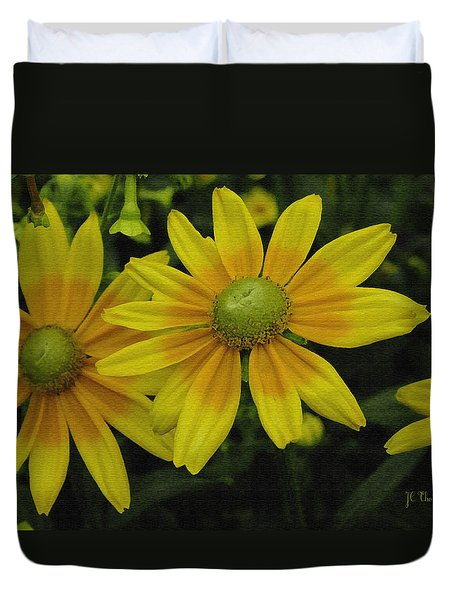 Duvet Cover featuring the photograph Yellow Daisies by James C Thomas