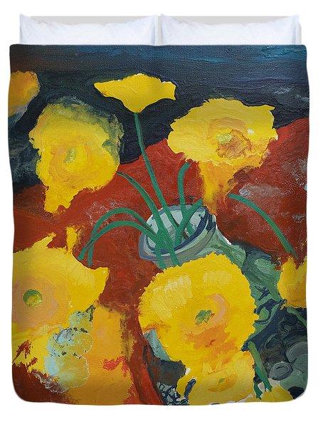 Yellow Daisies Duvet Cover by Joseph Demaree