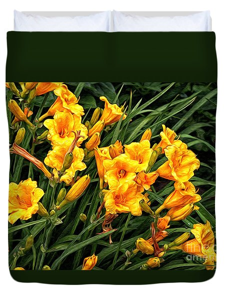 Yellow Daylilies Duvet Cover