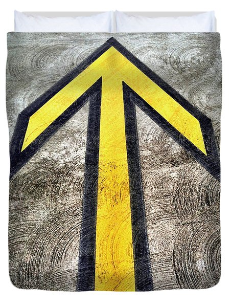 Yellow Directional Arrow On Pavement Duvet Cover