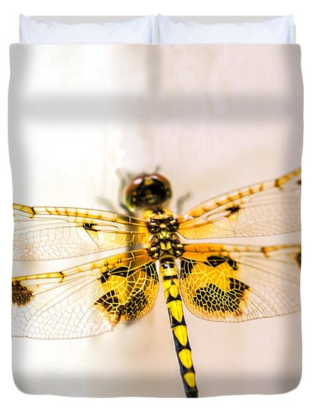 Yellow Dragonfly Pantala Flavescens Duvet Cover by Iris Richardson