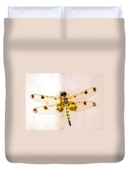 Yellow Dragonfly Pantala Flavescens Duvet Cover