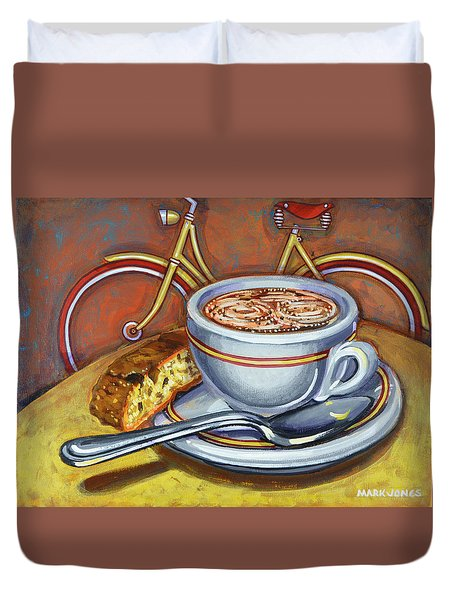 Yellow Dutch Bicycle With Cappuccino And Biscotti Duvet Cover by Mark Jones