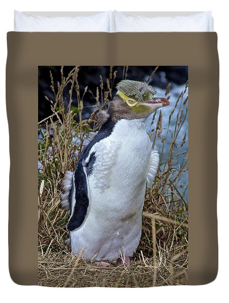 Endangered Yellow Eyed Penguin Hoiho Duvet Cover by Venetia Featherstone-Witty