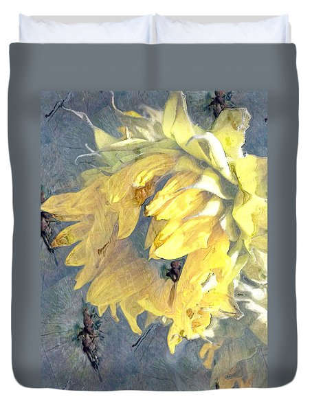 Yellow Fading Flower Duvet Cover