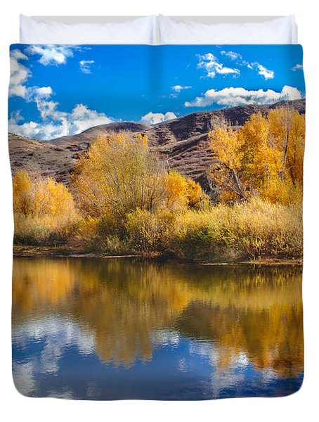 Yellow Fall Reflections Duvet Cover