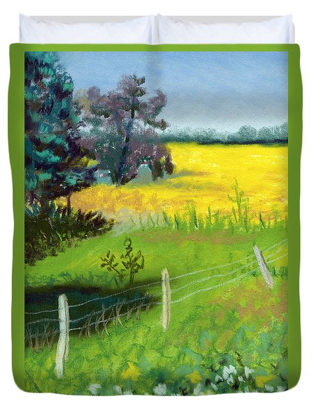 Yellow Field Duvet Cover by Tanya Provines
