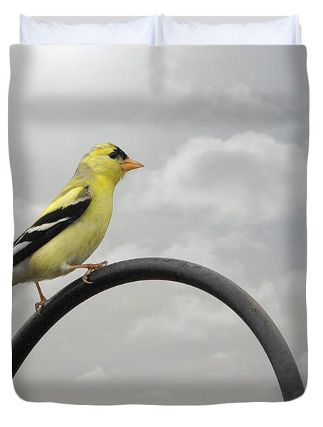 Yellow Finch A Bright Spot Of Color Duvet Cover by Christine Till