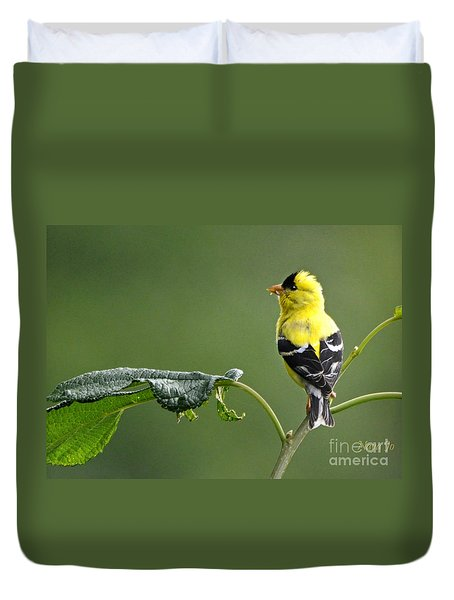 Duvet Cover featuring the photograph Yellow Finch by Nava Thompson