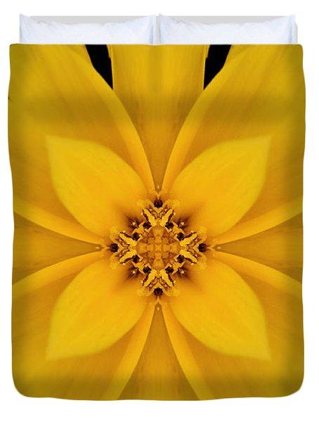 Yellow Flower Kaleidoscope Abstract Duvet Cover by Don Johnson