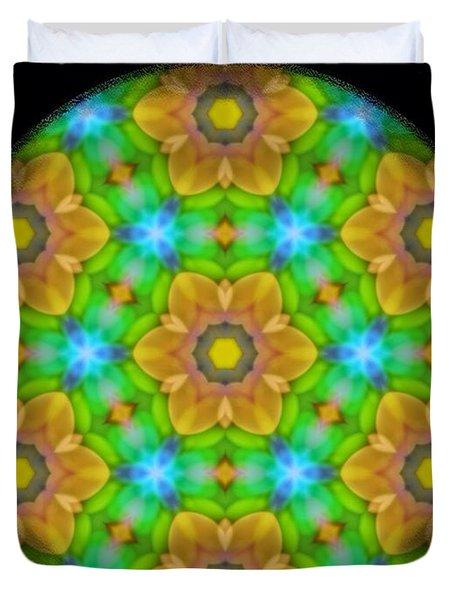 Yellow Flower Mandala Duvet Cover by Karen Buford