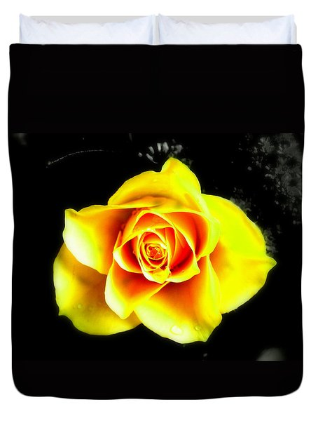 Yellow Flower On A Dark Background Duvet Cover