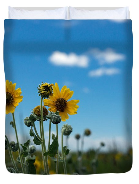 Yellow Flower On Blue Sky Duvet Cover by Photographic Arts And Design Studio