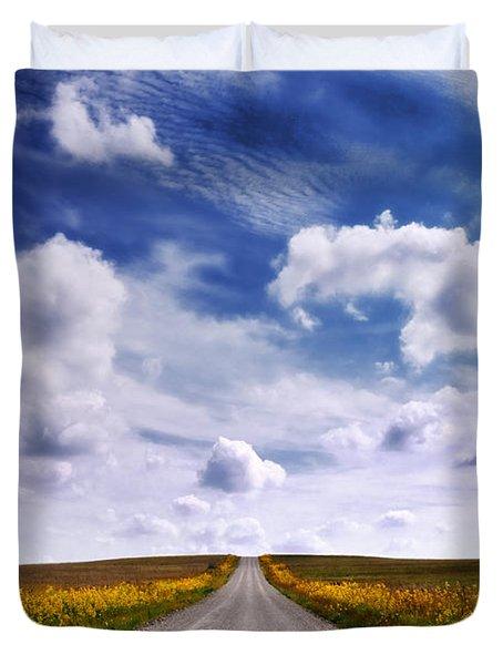 Yellow Flower Road Duvet Cover