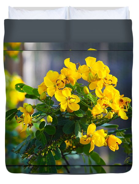 Yellow Flowers Duvet Cover by Chris Thomas