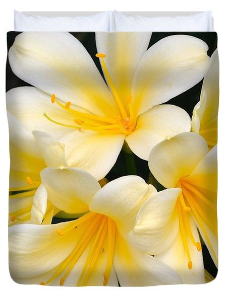 Duvet Cover featuring the photograph Clivia Yellow Flowers by Jeannie Rhode