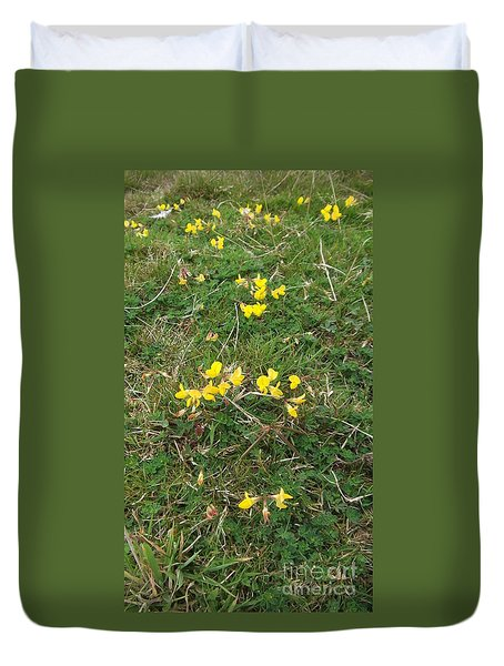 Yellow Flowers Duvet Cover by John Williams