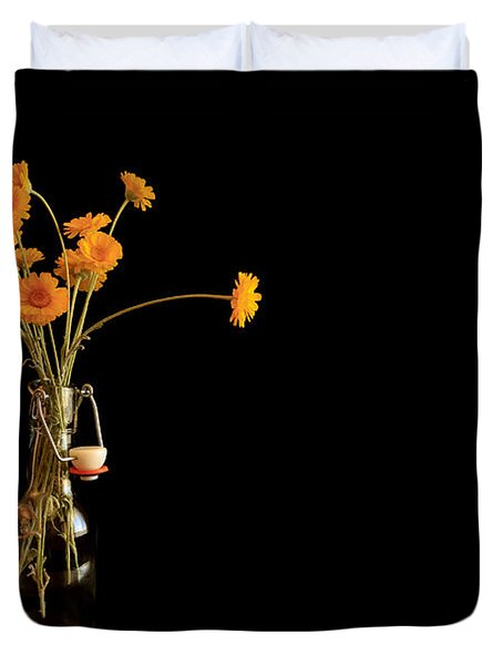 Orange Flowers On Black Background Duvet Cover by Don Gradner