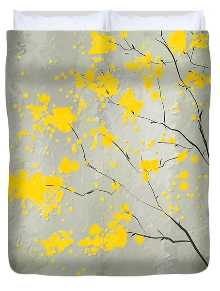 Yellow Foliage Impressionist Duvet Cover by Lourry Legarde