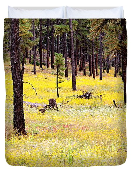 Yellow Forest Duvet Cover by Kume Bryant