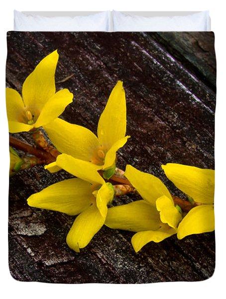 Yellow Forsythia Duvet Cover