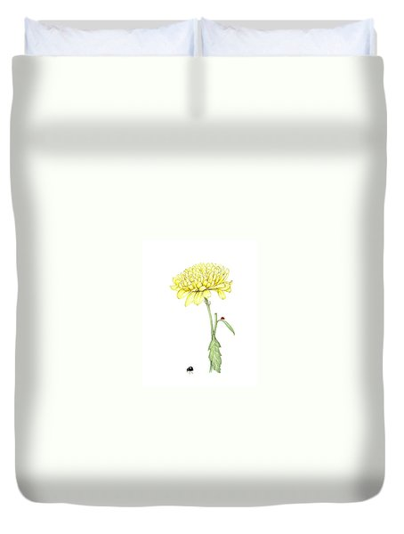 Duvet Cover featuring the painting Yellow Fun by Heidi Kriel