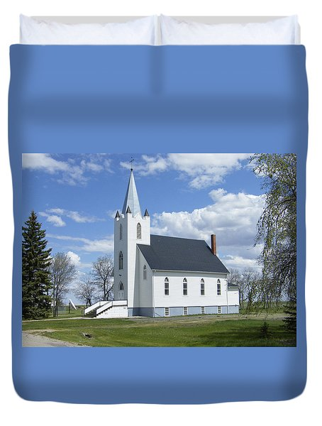 Duvet Cover featuring the photograph Yellow Grass Church - Saskatchewan - Canada by Phil Banks