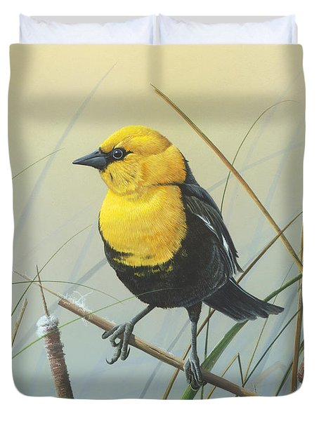 Yellow-headed Black Bird Duvet Cover
