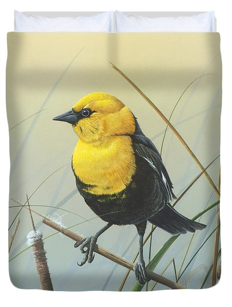 Duvet Cover featuring the painting Yellow-headed Black Bird by Mike Brown