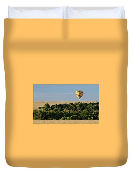 Duvet Cover featuring the photograph Yellow Hot Air Balloon Masai Mara by Tom Wurl