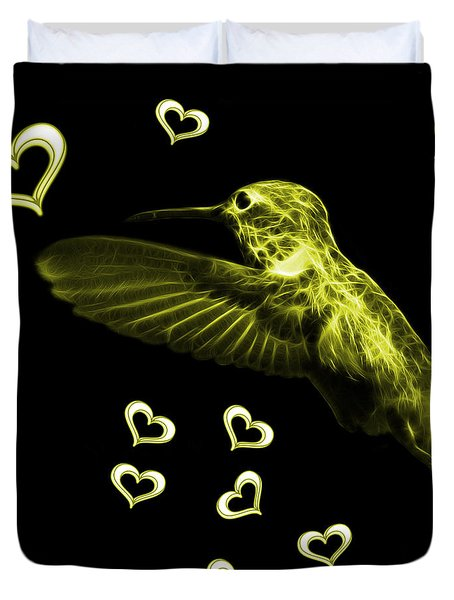 Yellow Hummingbird - 2055 F M Duvet Cover