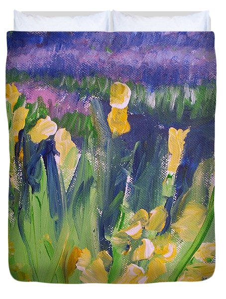 Yellow Iris Duvet Cover by Eric  Schiabor