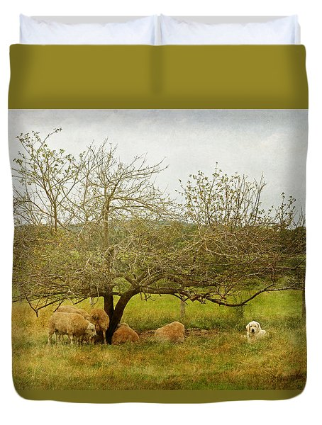 Duvet Cover featuring the photograph Yellow Lab And Sheep Under Apple Trees by Brooke T Ryan