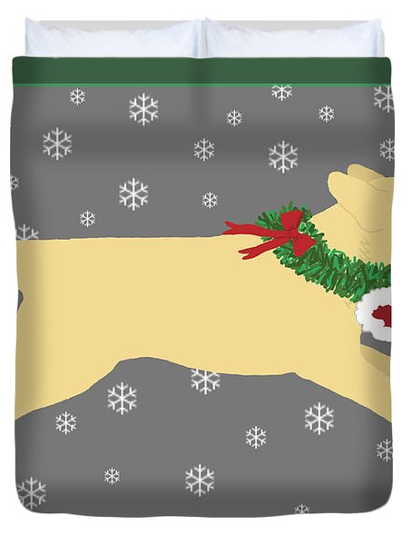 Yellow Labrador Dog Steals Santa's Hat Duvet Cover