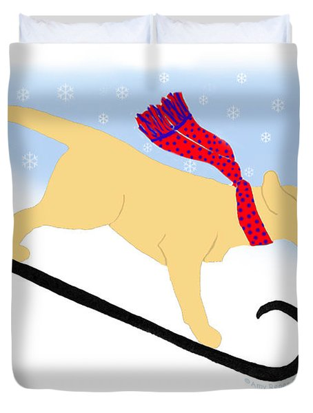 Yellow Labrador Snowboard Dog Duvet Cover