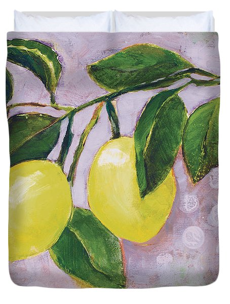 Yellow Lemons On Purple Orchid Duvet Cover by Jen Norton