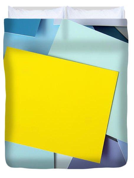 Yellow Memo Duvet Cover by Carlos Caetano