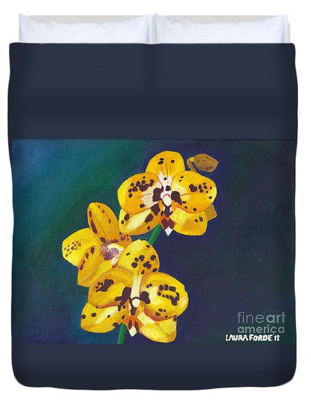 Yellow Orchids Duvet Cover by Laura Forde