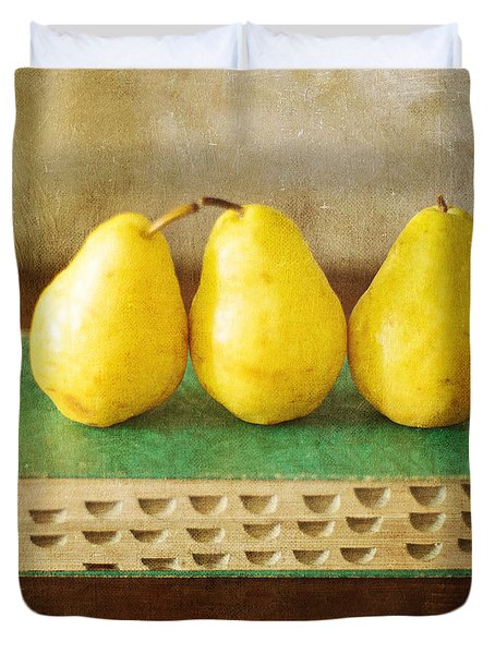 Yellow Pears And Vintage Green Book Still Life Duvet Cover