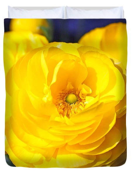Yellow Peonies Duvet Cover