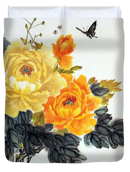 Yellow Peonies Duvet Cover by Yufeng Wang