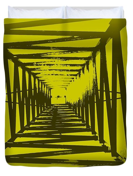 Yellow Perspective Duvet Cover by Clare Bevan