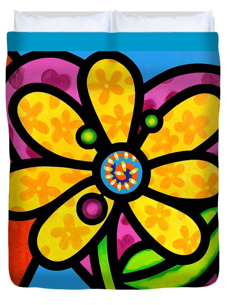 Yellow Pinwheel Daisy Duvet Cover
