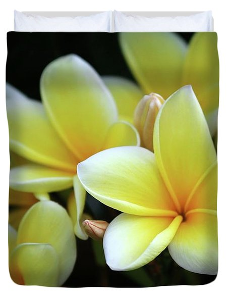 Yellow Plumeria Cascade Duvet Cover