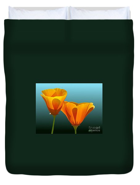 Duvet Cover featuring the painting Yellow Poppies by Rand Herron