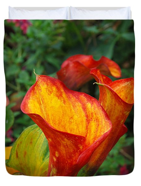 Duvet Cover featuring the photograph Yellow Red Calla Lily by Eva Kaufman