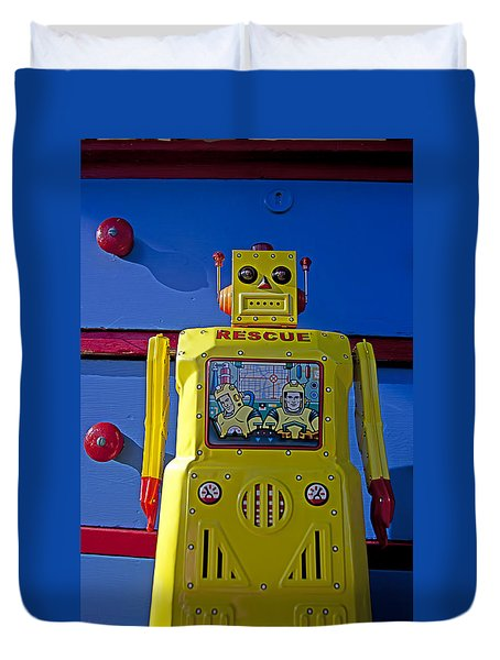 Yellow Robot In Front Of Drawers Duvet Cover by Garry Gay