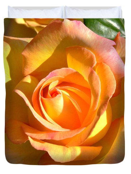 Duvet Cover featuring the photograph Yellow Rose Bud by Debby Pueschel