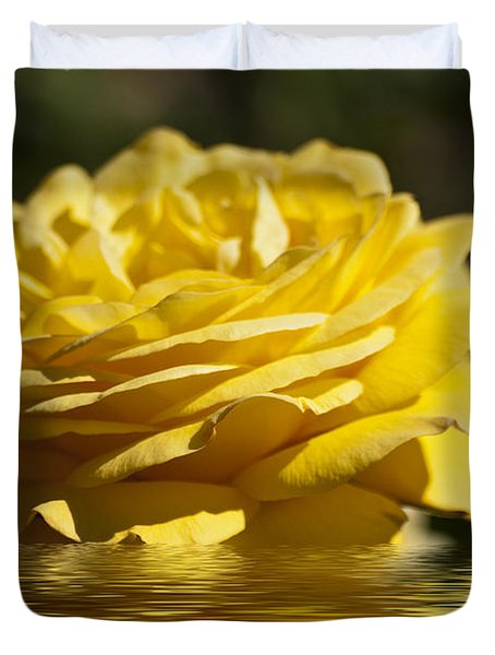 Yellow Rose Flood Duvet Cover by Steve Purnell
