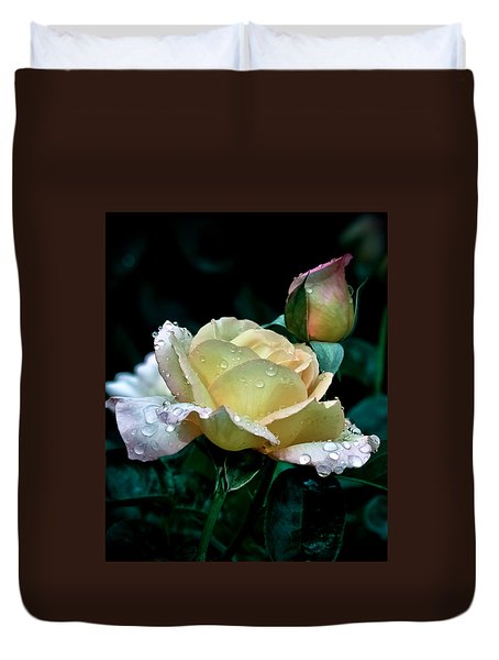 Yellow Rose Morning Dew Duvet Cover